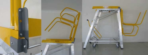 StockMaster Fold-Rail is a folding platform rail system for a StockMaster platform ladder to lower overall height.