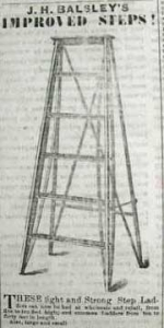 The picture shows an early advertisement for a step ladder.