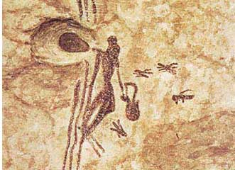 The ladder in the rock painting on this page shows two humans using a ladder to reach a wild honeybee nest