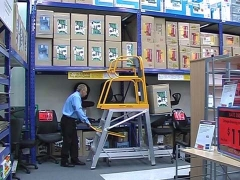 StockMaster Lift-Truk order picking ladder transporting picked goods