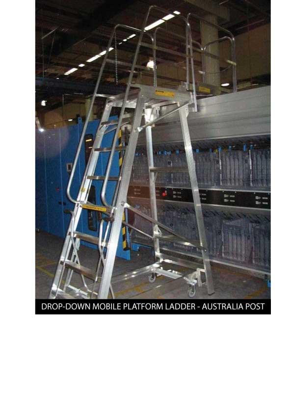 Custom Manufacturing Service - Drop-down Mobile Platform Ladder - Australia Post