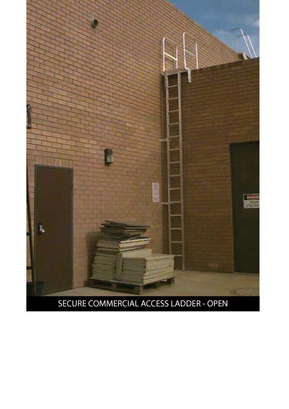 Custom Manufacturing Service - Secure Commercial Access Ladder - in open position